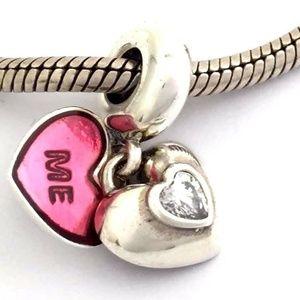 PANDORA You & Me Clear CZ & Fuchsia Heart Charm